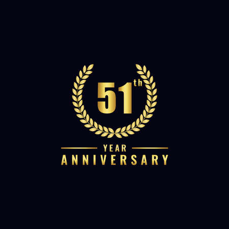 Vector illustration of a birthday logo number 51 with gold color, can be used as a logo for birthdays, leaflets and corporate birthday brochures. - Vector