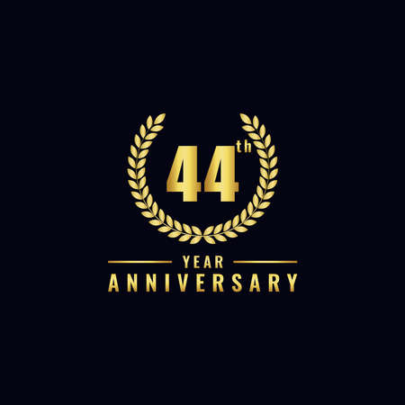 Vector illustration of a birthday logo number 44 with gold color, can be used as a logo for birthdays, leaflets and corporate birthday brochures. - Vector