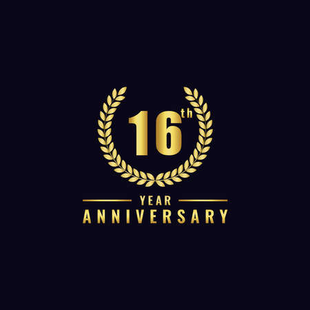 Vector illustration of a birthday logo number 16 with gold color, can be used as a logo for birthdays, leaflets and corporate birthday brochures. - Vector