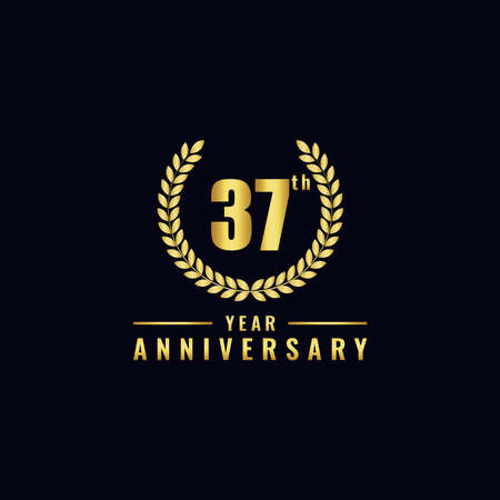 Vector illustration of a birthday logo number 37 with gold color, can be used as a logo for birthdays, leaflets and corporate birthday brochures. - Vector Illusztráció