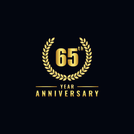 Vector illustration of a birthday logo number 65 with gold color, can be used as a logo for birthdays, leaflets and corporate birthday brochures. - Vector