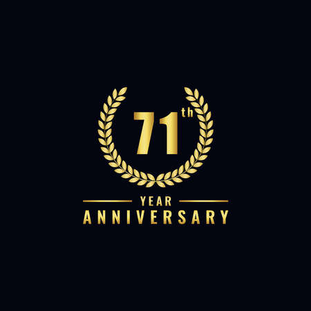 Vector illustration of a birthday logo number 71 with gold color, can be used as a logo for birthdays, leaflets and corporate birthday brochures. - Vector