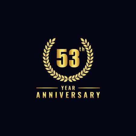 Vector illustration of a birthday logo number 53 with gold color, can be used as a logo for birthdays, leaflets and corporate birthday brochures. - Vector