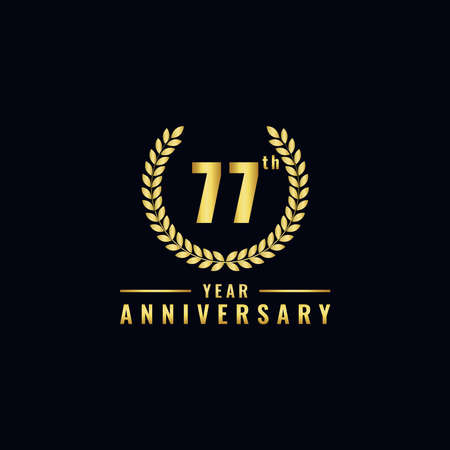 Vector illustration of a birthday logo number 77 with gold color, can be used as a logo for birthdays, leaflets and corporate birthday brochures. - Vector