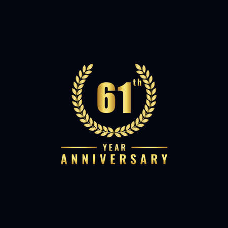 Vector illustration of a birthday logo number 61 with gold color, can be used as a logo for birthdays, leaflets and corporate birthday brochures. - Vector
