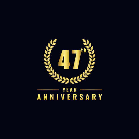 Vector illustration of a birthday logo number 47 with gold color, can be used as a logo for birthdays, leaflets and corporate birthday brochures. - Vector