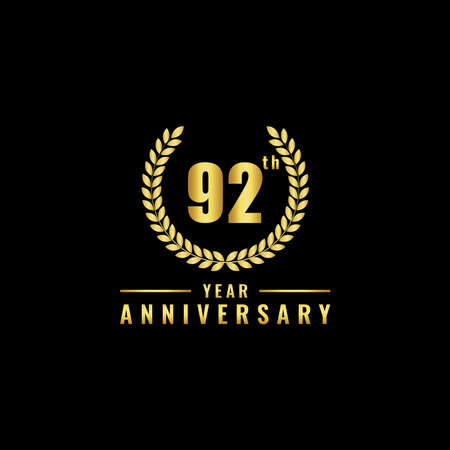 Vector illustration of a birthday logo number 92 with gold color, can be used as a logo for birthdays, leaflets and corporate birthday brochures. - Vector Illusztráció