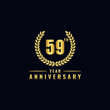 Vector illustration of a birthday logo number 59 with gold color, can be used as a logo for birthdays, leaflets and corporate birthday brochures. - Vector