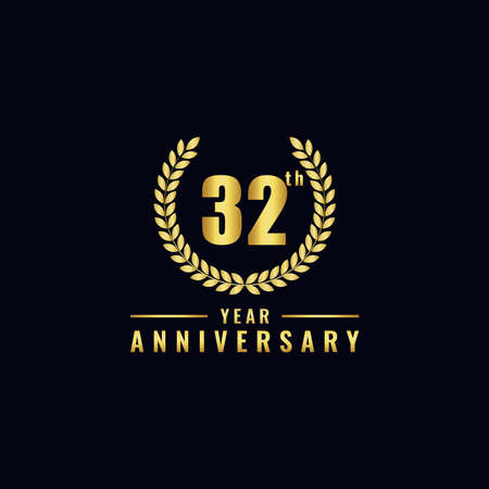 Vector illustration of a birthday logo number 32 with gold color, can be used as a logo for birthdays, leaflets and corporate birthday brochures. - Vector Illusztráció