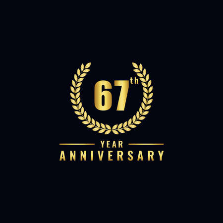 Vector illustration of a birthday logo number 67 with gold color, can be used as a logo for birthdays, leaflets and corporate birthday brochures. - Vector Illusztráció
