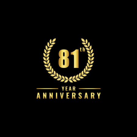 Vector illustration of a birthday logo number 81 with gold color, can be used as a logo for birthdays, leaflets and corporate birthday brochures. - Vector