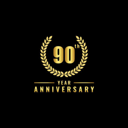 Vector illustration of a birthday logo number 90 with gold color, can be used as a logo for birthdays, leaflets and corporate birthday brochures. - Vector
