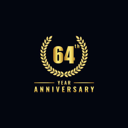 Vector illustration of a birthday logo number 64 with gold color, can be used as a logo for birthdays, leaflets and corporate birthday brochures. - Vector