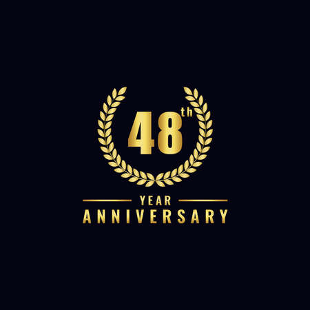 Vector illustration of a birthday logo number 48 with gold color, can be used as a logo for birthdays, leaflets and corporate birthday brochures. - Vector