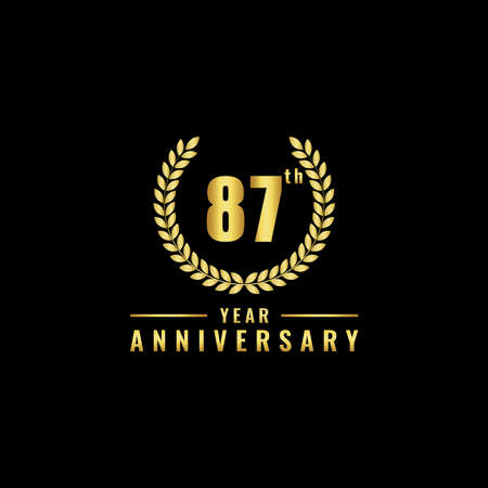 Vector illustration of a birthday logo number 87 with gold color, can be used as a logo for birthdays, leaflets and corporate birthday brochures. - Vector