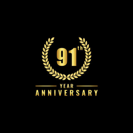Vector illustration of a birthday logo number 91 with gold color, can be used as a logo for birthdays, leaflets and corporate birthday brochures. - Vector