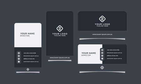 Modern, Creative and Clean Geometric Design Vector Business Card Template. Vertical and Horizontal Template Collection