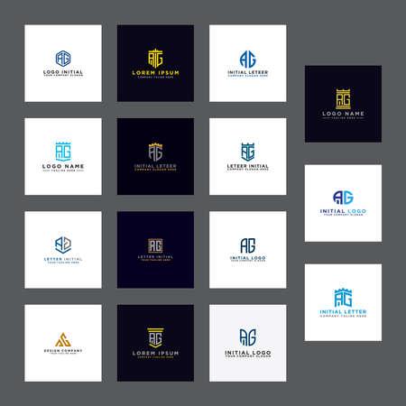 AG initial Letters. Bundle Initial templates. Illusztráció