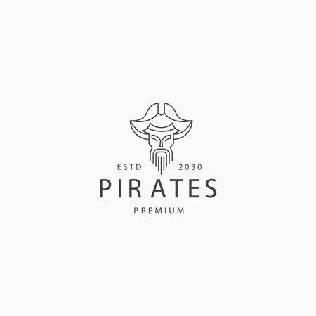 Pirate line art logo icon design template flat vector