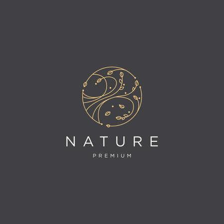 nature linear logo icon template vector