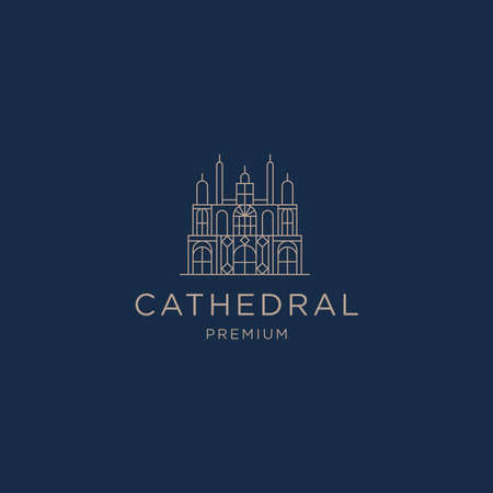 Cathedral line art logo icon design template flat vector