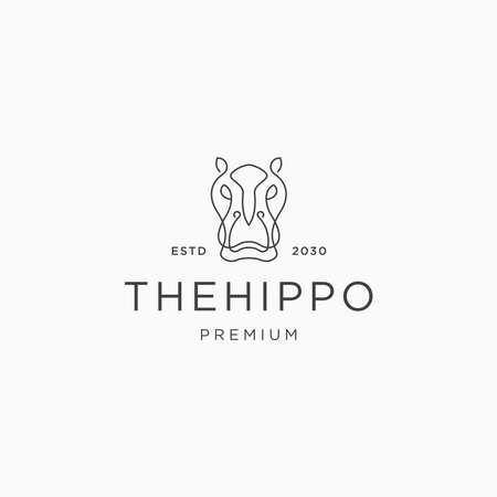 Flat vector The hippo line logo icon design template