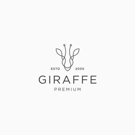Giraffe head line art logo icon design template flat vector