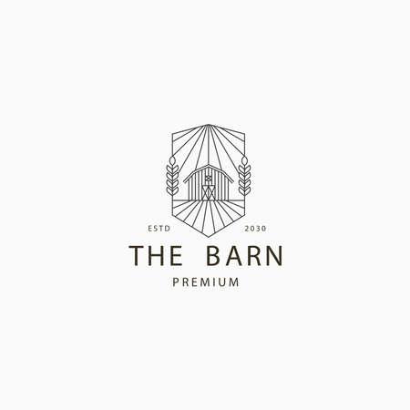 Barn farm line art logo icon design template flat vector