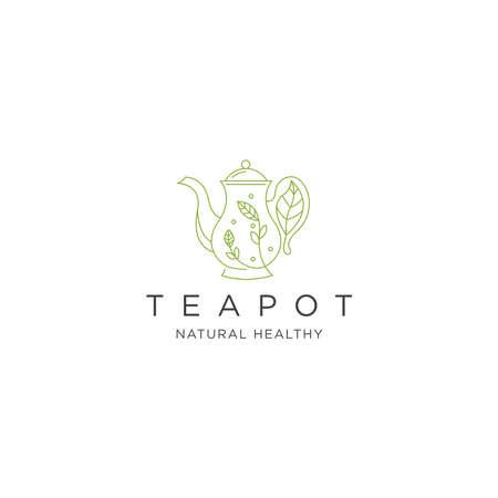 Teapot logo icon design template flat vector