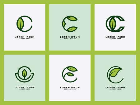 Leaf Logo Initial Letter Design Set C Vector