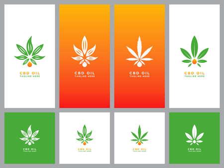 Template logo set design cannabis oil healt Illusztráció