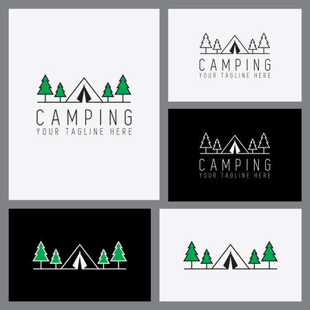 Outdoor Camping and Adventure Logo Template Travel Illusztráció