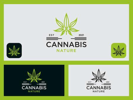 Template Set Cannabis Design Logo health icon