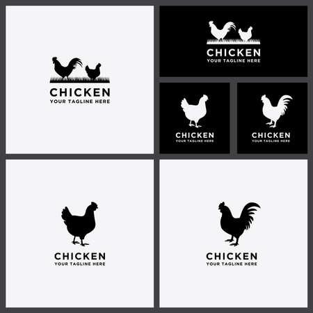 Template Logo Set collection of cattle Chicken design Illusztráció