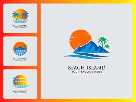 Beach And Island Logo Icon Design Set Template Vector