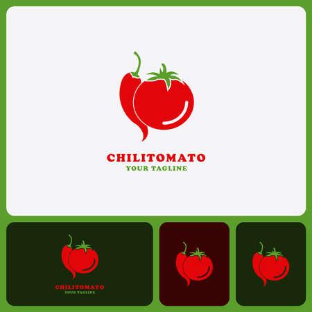 Template Tomato and chili design logo Isolated vegetables Illusztráció