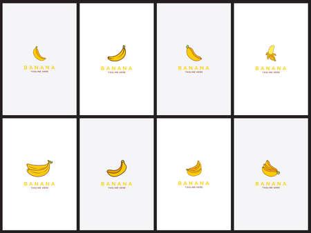 Banana logo Set template Health food design Vector Illusztráció