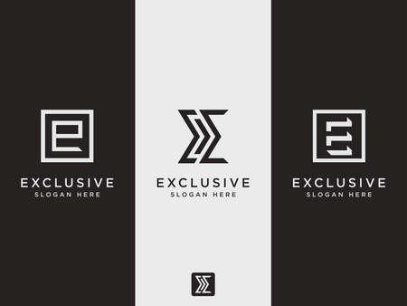 Modern style E Letter Logo Set Template (emblem). Illusztráció