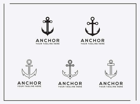 Elegant, trendy, artistic logo icon Set anchor Logo Design. - Vector