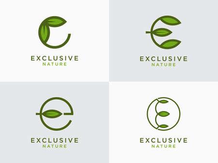 Leaf Logo Set Initial Letter Design E. - Vector