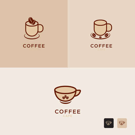 Vector illustration of hot coffee cup icon, logo design Set - Vector Illusztráció