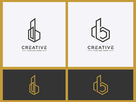 Construction logo Set template Letter DB. A symbol of real estate or house building. - Vector