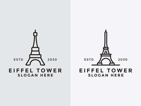 Vector line logo Set in simple Paris designs and French buildings