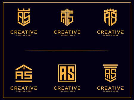 AS letter Initial icon / Monogram.- Vector inspiring logo Set
