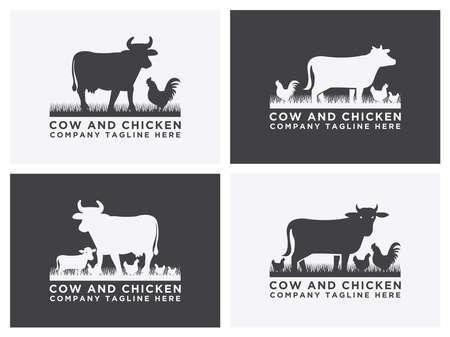 collection of cattle logo Set vector. Cow and chicken design Illusztráció
