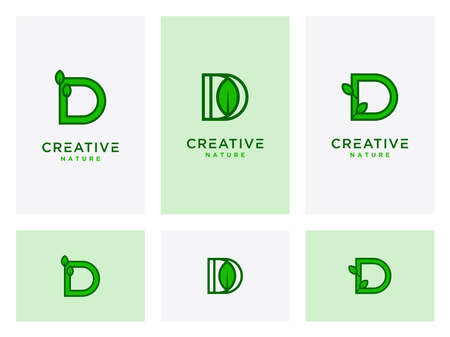 Leaf logo design icons with initial Set template D for natural