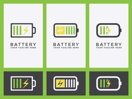 Battery charging logo Set or indicator icon in vector graphic design, Illusztráció
