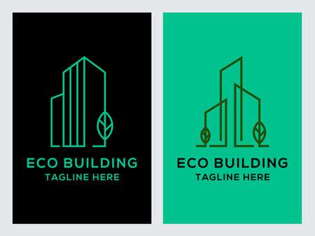 Eco Building Real Estate Logo Set Icon Design Template.Green,