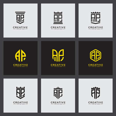 logo Set design inspiration for companies from the initial letters of the AP logo icon. -Vector