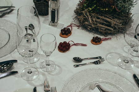 Serving of the festive table.Christmas table setting